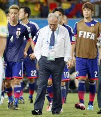 2014年ワールドカップ、日本がコロンビアに負け、グループリーグ敗退…